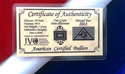 ACB Platinum 1GRAIN PT SOLID BULLION MINTED BAR 99.9 Pure With COA! +