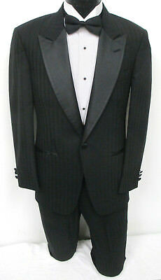 Black Striped Christian Dior One Button Satin Peak Lapel Tuxedo with Pants Prom