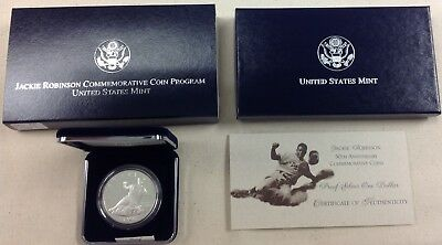 1997 US Mint Jackie Robinson Commemorative Silver Dollar - Proof