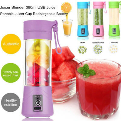 Portable Blender USB Juicer Cup Fruit Mixing Machine Rechargeable 380ML Bottle