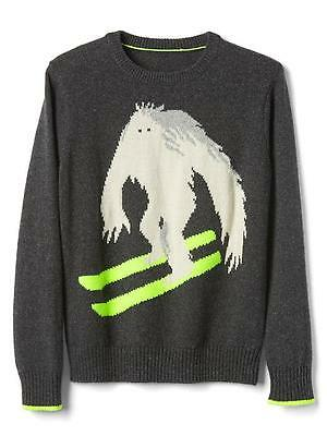 GAP Kids Boys Sz 4-5, Intarsia Graphic Gray Ski Crew Pullover Sweater