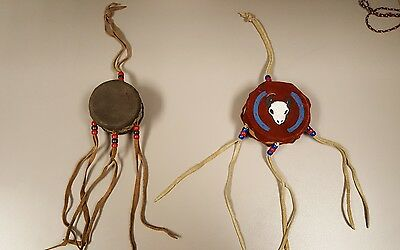 2 VINTAGE NATIVE AMERICAN DRUMs 1 With Bull 1 Plain