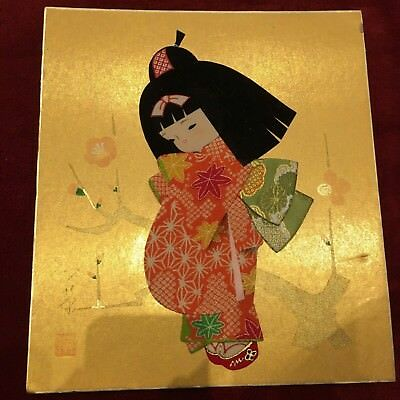 VINTAGE JAPANESE Fabric Wall Art Girl in Kimono - £1.00 | PicClick UK