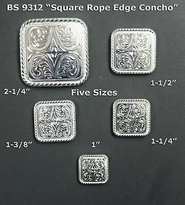 Conchos Lot Of 6 Pcs Bs 9312 Square Rope Bs 9312 Sp Shiny Silver 5 Sizes : New