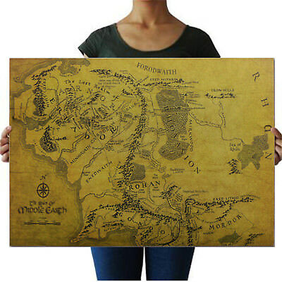 FASHION MAP OF Middle Earth Lord Of The Rings HD Poster Art Print ...