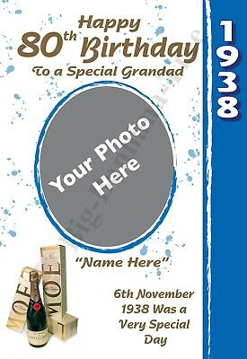 PERSONALISED 1938 80th PHOTO BIRTHDAY CARD