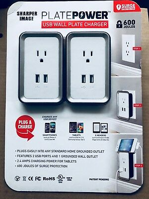 2pk Sharper Image Power Plate Usb Wall Charger Two Pack Grounded