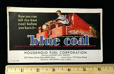 Vintage Springfield Massachusetts Blue Coal Ink Blotter