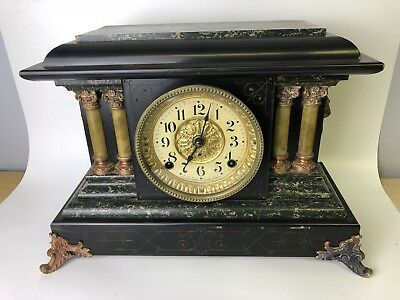 Seth Thomas No 3 Adamantine 4 Column Mantle Clock w/ 4 1/2 movement