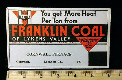 Vintage Cornwall, PA Franklin Coal of Lykens Valley Ink Blotter