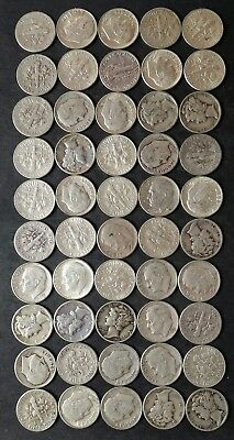 Lot of 50 10c Silver Dimes