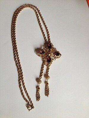 Vintage Beautifui BOLO TIE 1/20 12k.GF With Purple Stone? Or Glass?50g (G621)