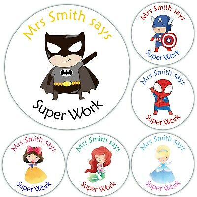 48 Personalised GLOSS School Teacher Children Reward Well Done Label Stickers