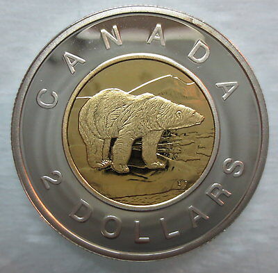 2003 Canada Toonie Proof Silver With Gold Plate Heavy Cameo Two Dollar Coin