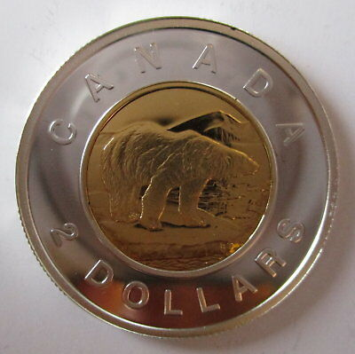 2005 Canada Toonie Proof Silver With Gold Plate Two Dollar Coin