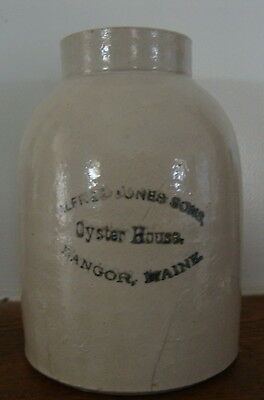 "Vintage Stoneware Crock ""Alfred Jones Sons Oyster House Bangor Maine"""