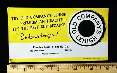 Vintage Stockertown, PA Old Company's Lehigh Coal Ink Blotter