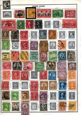 Early Usa Stamps Hinged Onto Old Album Pages