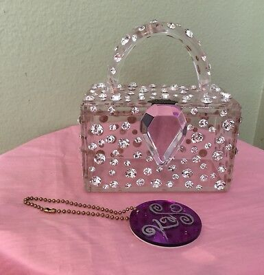 Vintage 1992 Rhinestone Lucite Kaso Handbag Purse Work Of Art Signed