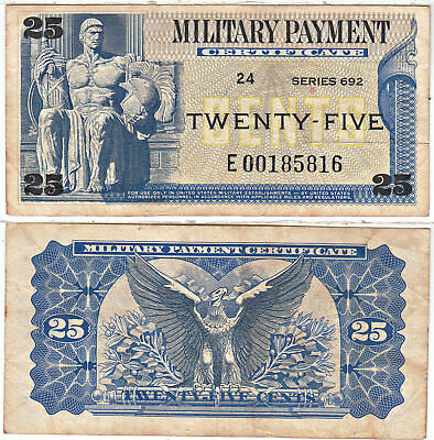 25 Cent Series 692 REPLACEMENT Military Payment Certificate Very Fine