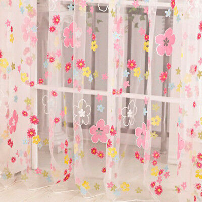 Colorful Plain Voile Top Curtain Drape Panel Door Window Sheer Scarf Valance Net