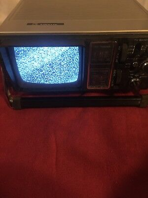 Vintage Liberty Portable 5 Black White Tv Television Am Fm Uhf Vhf