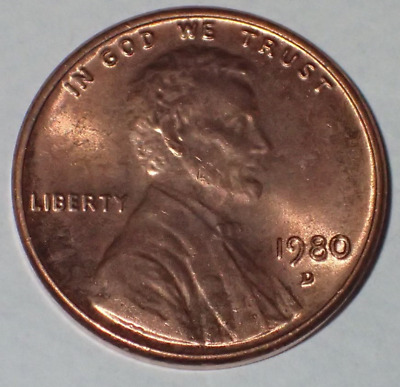 USA Lincoln 1 cent  uncirculated  Coin 1980 d  SN 419