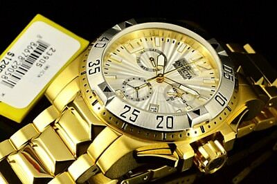 23905 Invicta 50MM Excursion HighPolished Swiss Chrono White Dial SS GP Band Wat