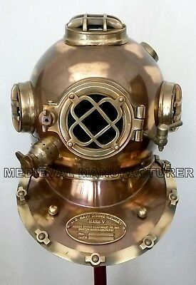 Antique U.s Navy Diving Helmet Mark V Deep Sea Divers Helmet Vintage Replica