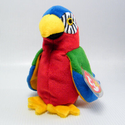 """TY Beanie Babies JABBER The MACAW PARROT 5"""" Plush Bird NWT 1998 Retired"""