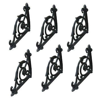 "Set Of 6 Black Antique-Style 7"" Cast Iron Shelf Brackets Garden Wall Rustic"