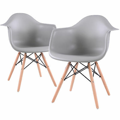 2 x Dining Chairs Retro Armchair Wooden Legs Living Room Kitchen Office Chairs