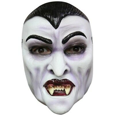 b9c54432356 ADULT DRACULA VAMPIRE Moulded Rubber Half Face Mask Horror Halloween ...