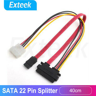 40cm SATA 7+15 22 Pin Splitter Cable Hard Drive Data 4 Pin Power Supply Adapter