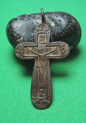 Ancient Bronze Cross Wearable Pendant Antique Rare C56