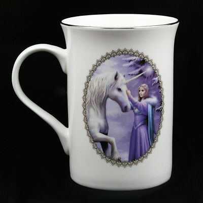 "Anne Stokes Luxury Ceramic Mug Cup: ""Pure Magic"" White Unicorn with Maiden"