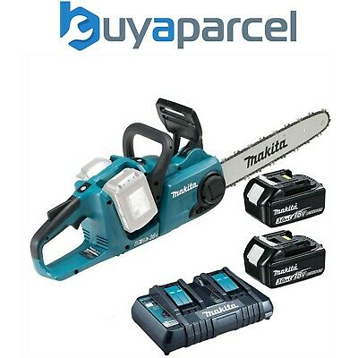 Makita DUC353RT2 Twin 18v / 36v LXT Cordless 35cm Chainsaw Li-Ion 2x Batteries