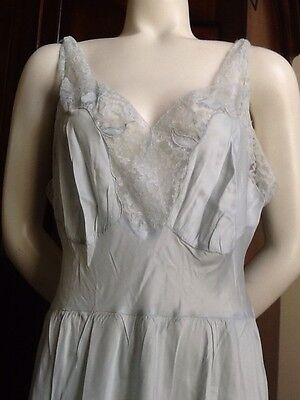 Vintage Barbizon Baby Blue Long Acetate/Rayon Nightgown Sz 18 Miss! Beautiful!