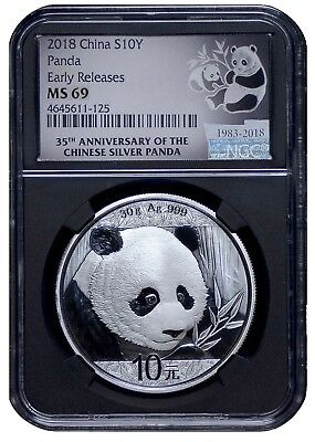 2018 China 10 Yuan Silver Panda NGC MS69 - Early Releases - 35th Anniv BLACK