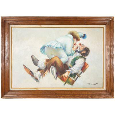 "Italian ""Clown Dentist"" Oil on Canvas Painting Signed Barcelo"