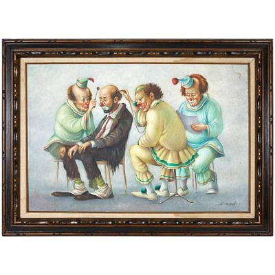 "Italian ""Clown Doctors"" Oil on Canvas Painting Signed Barcelo"