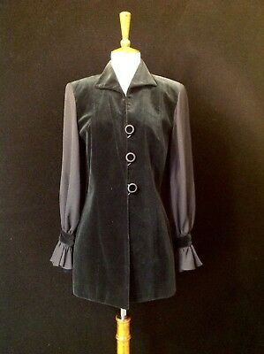 Vintage  Christian Dior Velvet And Crepe Sleeved 3 Button Jacket. Rare!