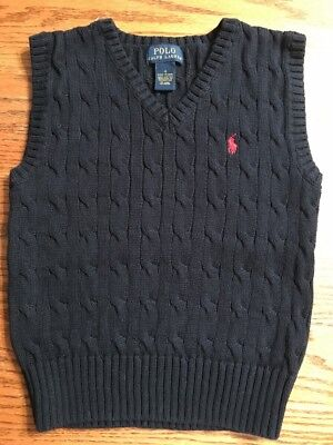 Polo, Ralph Lauren Boys Size 4 Navy Sweater Vest EUC