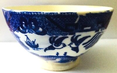"""FLOW BLUE BOWL * MADE  IN JAPAN  * BIRDS, SAILBOAT, CASTLE * 5"""" WIDE by 3"""" HIGH"""