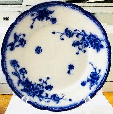 """Antique Flow Blue Dinner Plate * 10"""" Marked F.b. England Trademarked: Rw27708E0"""
