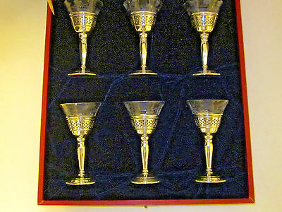 6 CARTIER Cordials Sterling and Screw in Glass Cups with floral cut decoration