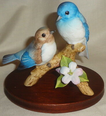 Vintage ANDREA BLUEBIRDS on BRANCH #7955 - original tag - MINT with WOOD BASE
