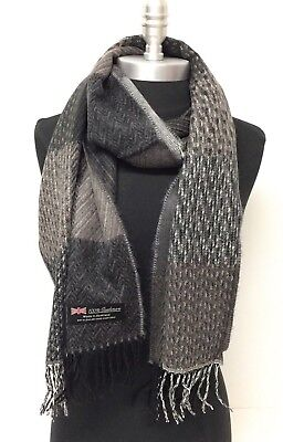 Men's 100% Cashmere Scarf Black Gray Camel Plaid SCOTLAND Soft Wool Wrap Thick