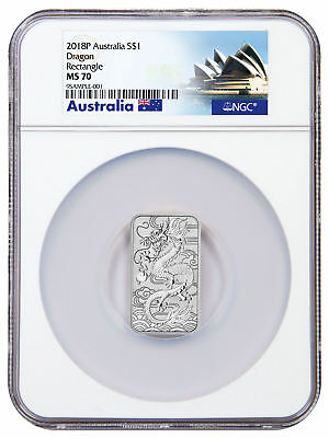 2018-P Australia 1 oz. Silver Dragon $1 Bar NGC MS70 Exclusive Label SKU53162