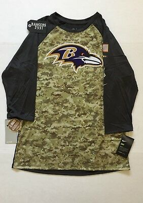 f5696c332 Nike 2017 NFL Salute to Service Baltimore Ravens Sideline 3 4 T-Shirt STS